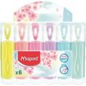 Marcador Maped  pastel 6 unidades.