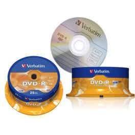 Dvd-R x 16. Verbatim. 4.7 Gb. 120 min. Tarrina de 25 unidades.