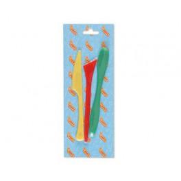 Cuchillos de plástico, 3 cuchillos ,plastilina